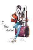 Музыкант девушки играя гитару в городе иллюстрация штока