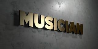 Музыкант - знак золота установленный на лоснистой мраморной стене - 3D представил иллюстрацию неизрасходованного запаса королевск бесплатная иллюстрация