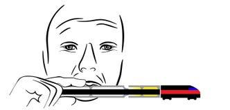 Музыкант играя арфу рта иллюстрация вектора