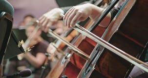 Музыкант играя виолончель во время репетиции классической музыки перед концертом сток-видео