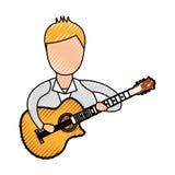 Музыкант играя воплощение гитары иллюстрация штока