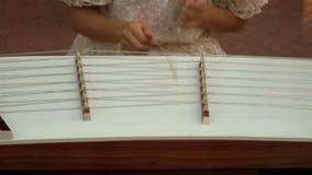 Музыкант играя деревянный бить молотком молотком dulcimer сток-видео
