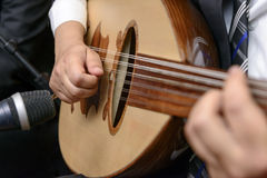 Музыкант играя примечание на лютне Стоковые Изображения RF