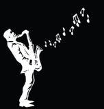 Музыкант играя саксофон иллюстрация вектора