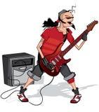 музыкант изолированный гитарой Стоковые Фото
