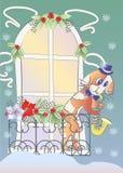 Музыкант и окно собаки Стоковое Изображение RF