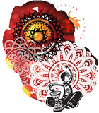 Музыкант на предпосылке от splatters акварели и круглого patte Стоковые Изображения