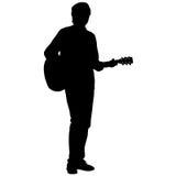 Музыкант силуэта играет гитару также вектор иллюстрации притяжки corel иллюстрация вектора