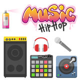 Музыкант тазобедренного хмеля вспомогательный с символами рэпа breakdance микрофона выразительными vector иллюстрация бесплатная иллюстрация