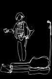 Музыкант улицы с чашкой кофе на микрофоне иллюстрация штока