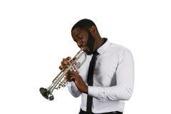 Музыкант Darksinned с трубой Стоковые Фотографии RF