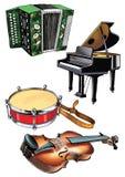 Музыка барабанчика аккордеона рояля скрипки Стоковые Изображения