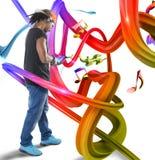 Музыка в красочных волнах Стоковые Изображения