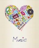 Музыка в форме сердца иллюстрация штока