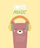 Музыка влюбленности медведя Стоковая Фотография