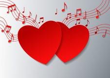 Музыка влюбленности с сердцами и примечаниями на белой предпосылке Стоковое Изображение RF