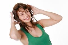 Музыка женщины красоты слушая Стоковое Фото
