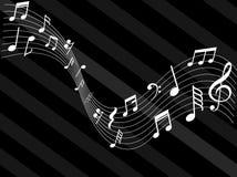 Музыка замечает конспект знаков белый черный стоковые фото