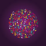 Музыка замечает круг Стоковые Изображения RF