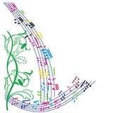 Музыка замечает предпосылку, стильную рамку музыкальной темы, illu вектора Стоковая Фотография RF