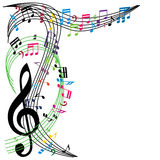 Музыка замечает предпосылку, стильный состав музыкальной темы, vecto Стоковая Фотография RF