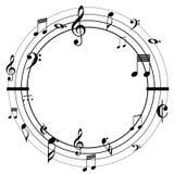 Музыка замечает черноту круга Стоковые Изображения