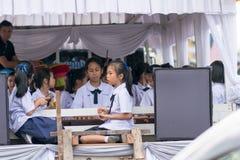 Музыка игры студенток на событиях Стоковое Фото