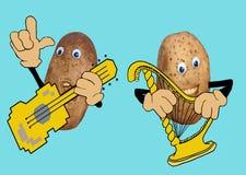 Музыка игры 2 счастливая картошек Стоковое фото RF