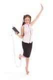 Музыка милого девочка-подростка слушая на ее наушниках Стоковые Фото