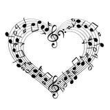 Музыка от иллюстрации вектора эскиза сердца Стоковые Фотографии RF