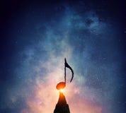 Музыка подписывает внутри темноту Мультимедиа Мультимедиа Стоковые Фотографии RF