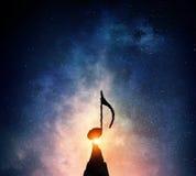 Музыка подписывает внутри темноту Мультимедиа Стоковые Фото