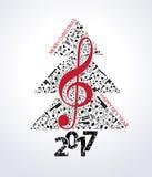 Музыка предпосылки 2017 рождества голубая Стоковые Фото