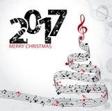 Музыка предпосылки 2017 рождества голубая Стоковое Фото