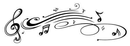 Музыка, примечания музыки, ключ Стоковое Изображение