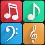 Музыка плоского значка установленная для сети и применения. Стоковое Фото