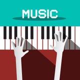 Музыка - руки играя рояль Стоковая Фотография RF