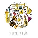 Музыкальная планета иллюстрация вектора