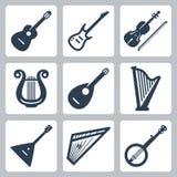 Музыкальные инструменты вектора: строки Стоковые Изображения