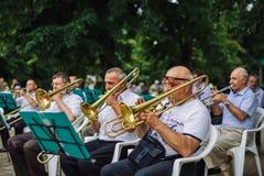 Музыкальные инструменты игры людей Стоковые Изображения