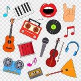 Музыкальные инструменты и стикер оборудования установленный на прозрачную предпосылку вектор Стоковая Фотография RF