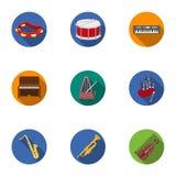 Музыкальные инструменты установили значки в плоском стиле Большое собрание музыкальных инструментов vector иллюстрация запаса сим иллюстрация штока