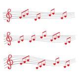 Музыкальные примечания и сердце хорд Стоковые Изображения