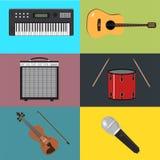 Музыкальные установленные аппаратуры Иллюстрация вектора музыкальных инструментов Плоский дизайн стиля с длинной тенью Стоковое Фото