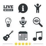 Музыкальный значок элементов Микрофон и гитара Стоковое Изображение RF