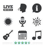 Музыкальный значок элементов Микрофон и гитара Стоковое Фото