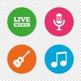 Музыкальный значок элементов Микрофон и гитара Стоковые Фотографии RF