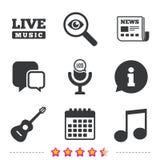 Музыкальный значок элементов Микрофон, примечание музыки Стоковая Фотография