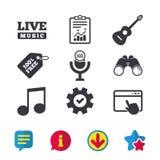 Музыкальный значок элементов Микрофон, примечание музыки Стоковые Изображения RF