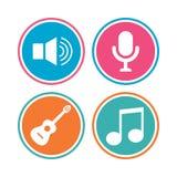 Музыкальный значок элементов Микрофон, ядровый диктор Стоковая Фотография RF